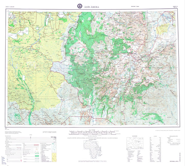 Large scale detailed topographical map of Addis Ababa region.