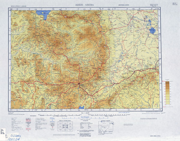 Large scale topographic map of Addis Ababa region.