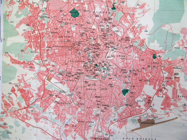 Roads map of Addis Ababa city. Addis Ababa city roads map.
