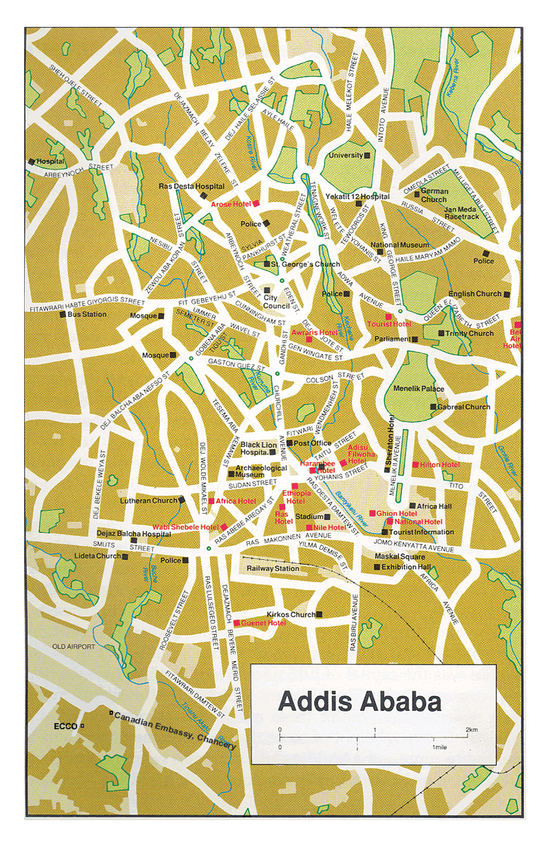Roads map of Addis Ababa city with street names | Vidiani.com | Maps ...