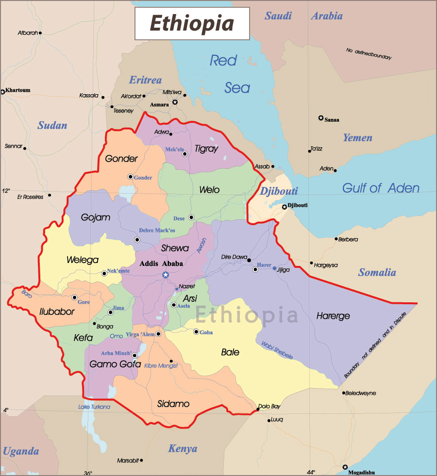 Detailed administrative map of Ethiopia with cities and ...