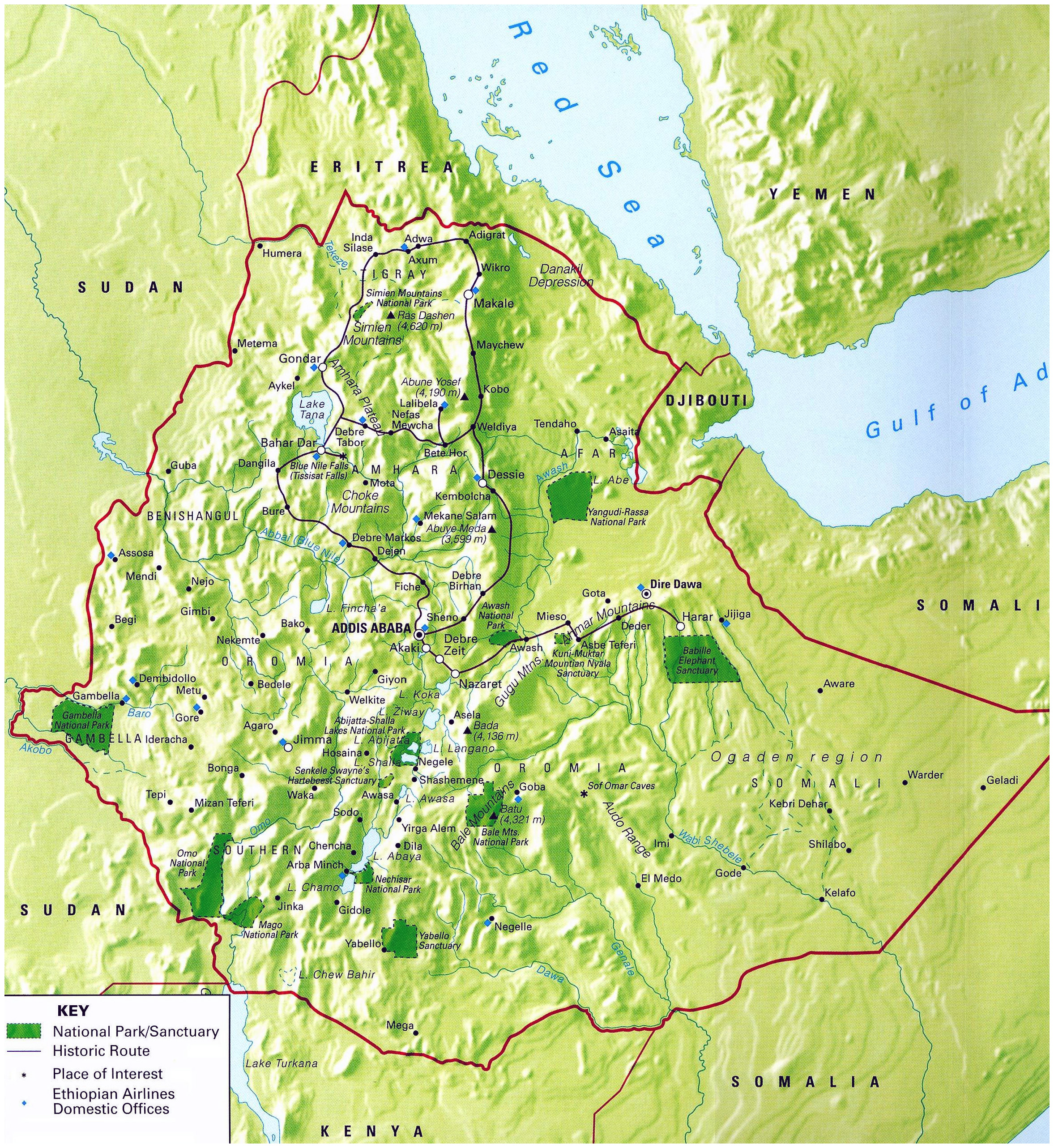 Detailed National Parks Map Of Ethiopia With Relief Ethiopia - Ethiopia map