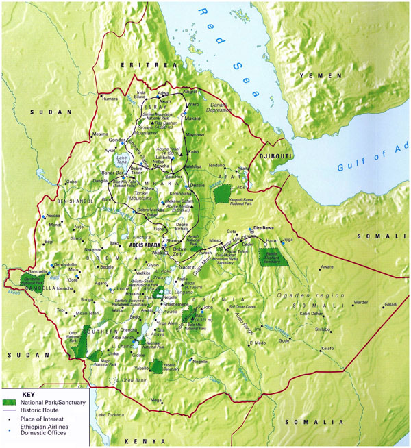 Detailed national parks map of Ethiopia with relief.