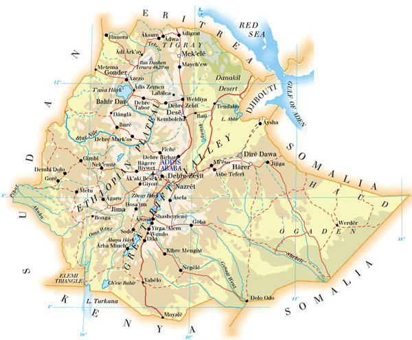Detailed physical and road map of Ethiopia.