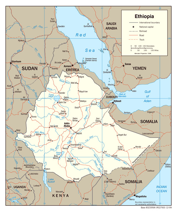 Detailed political map of Ethiopia. Ethiopia detailed political map.