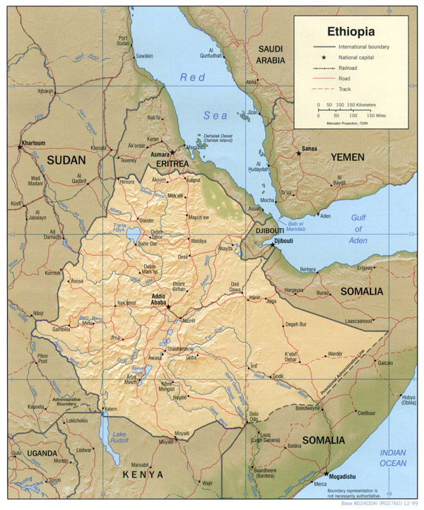 Detailed relief and political map of Ethiopia. Ethiopia detailed relief and political map.