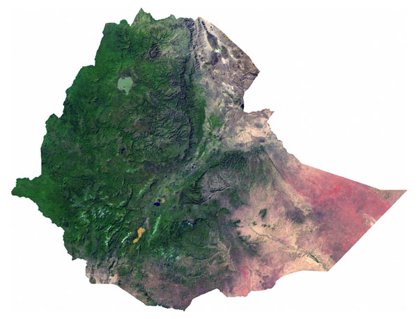 Detailed satellite map of Ethiopia. Ethiopia detailed satellite map.