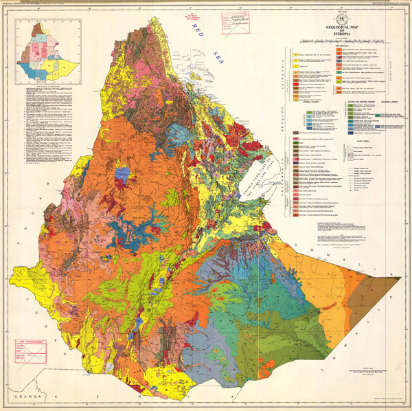 Large detailed geological map of Ethiopia. Ethiopia large detailed geological map.