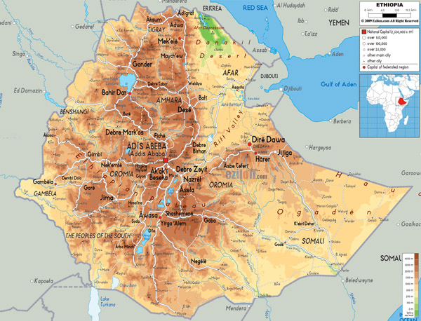 Large detailed physical map of Ethiopia with all roads, cities and airports.