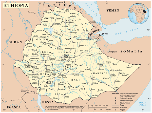 Large detailed political and administrative map of Ethiopia with all cities, highways and airports.