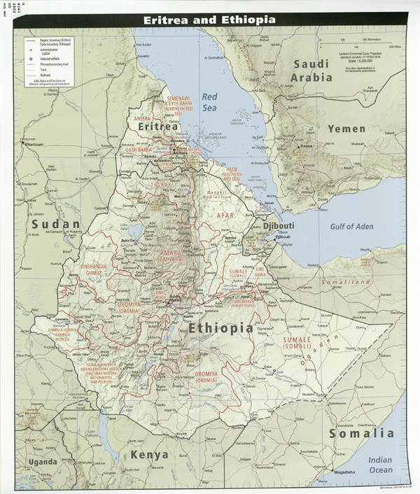 Large detailed relief map of Ethiopia and Eritrea with highways, cities and airports.