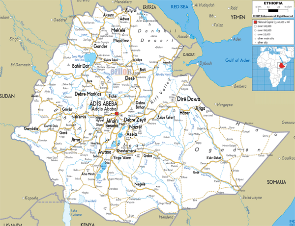 Large detailed road map of Ethiopia with all cities and airports.