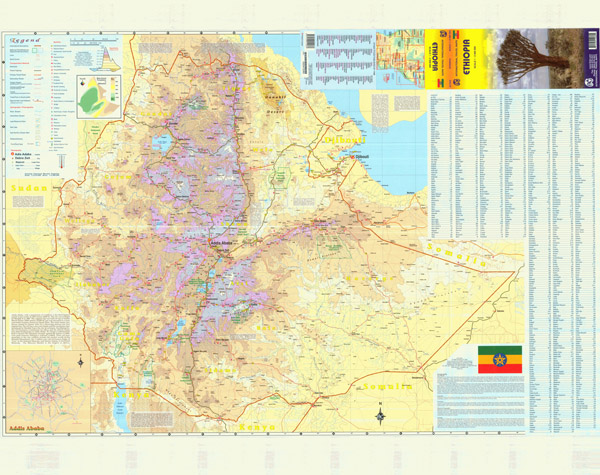 Large detailed topographical, road and travel map of Ethiopia.