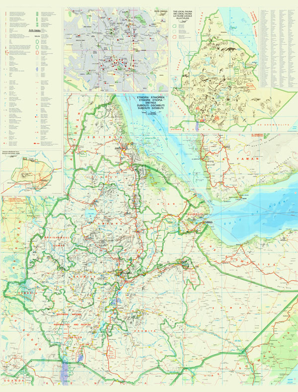Large detailed tourist map of Ethiopia with relief, roads, cities, airports and other marks.