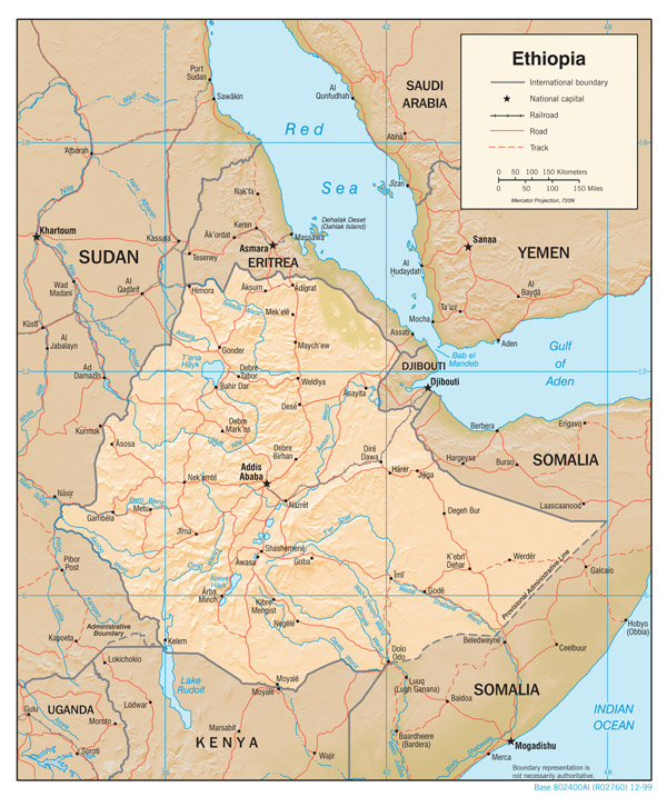 Large political map of Ethiopia with relief.