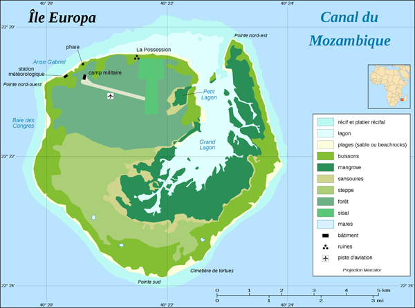 Europe Island simplified land cover map (fr).