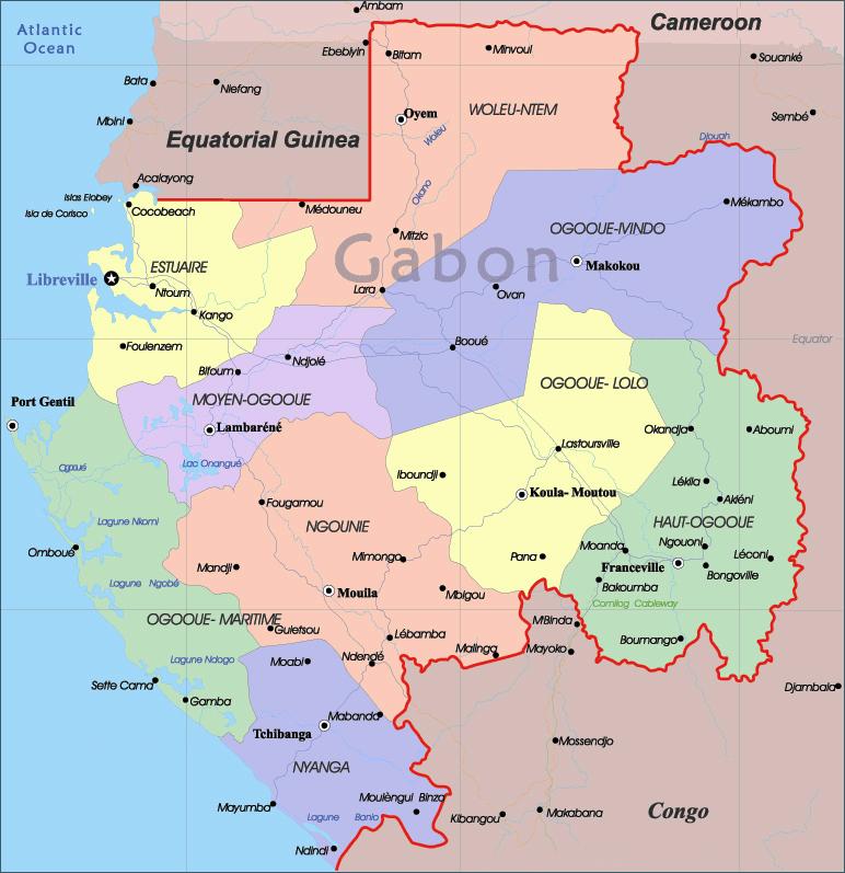 Detailed administrative map of Gabon Gabon detailed administrative