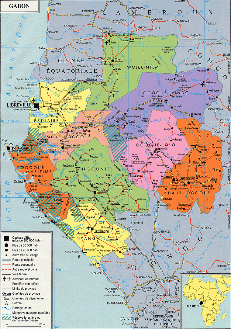 Detailed administrative map of Gabon with roads and cities Gabon