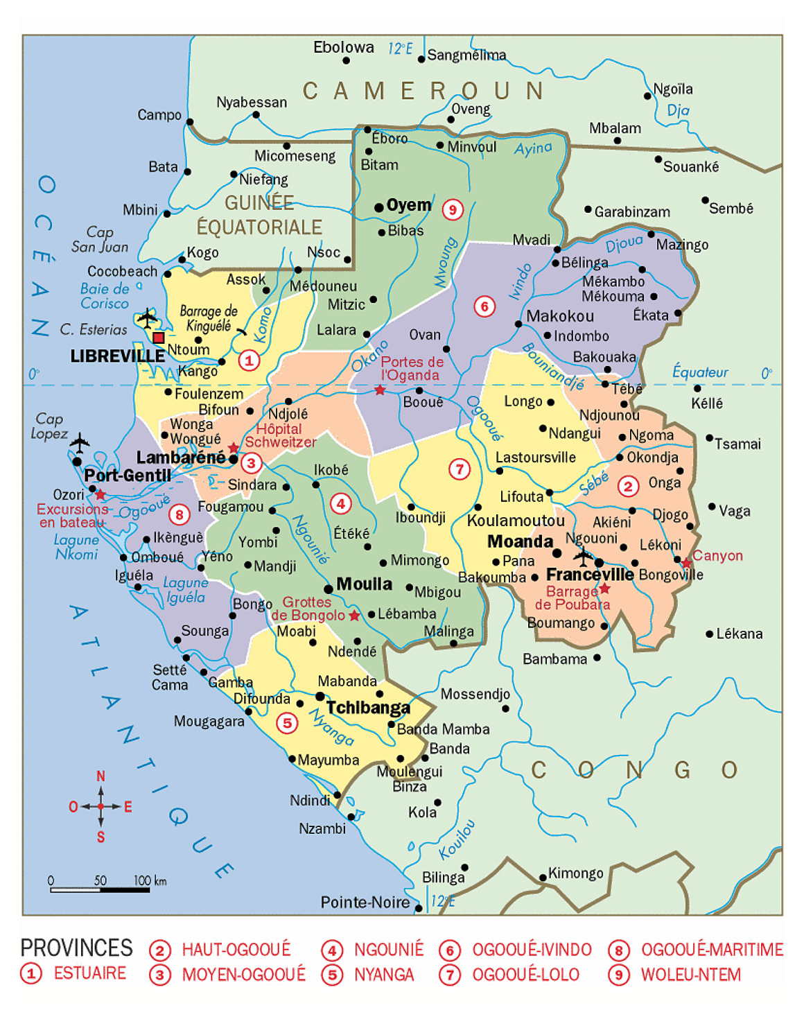 Detailed political map of Gabon with cities Gabon detailed