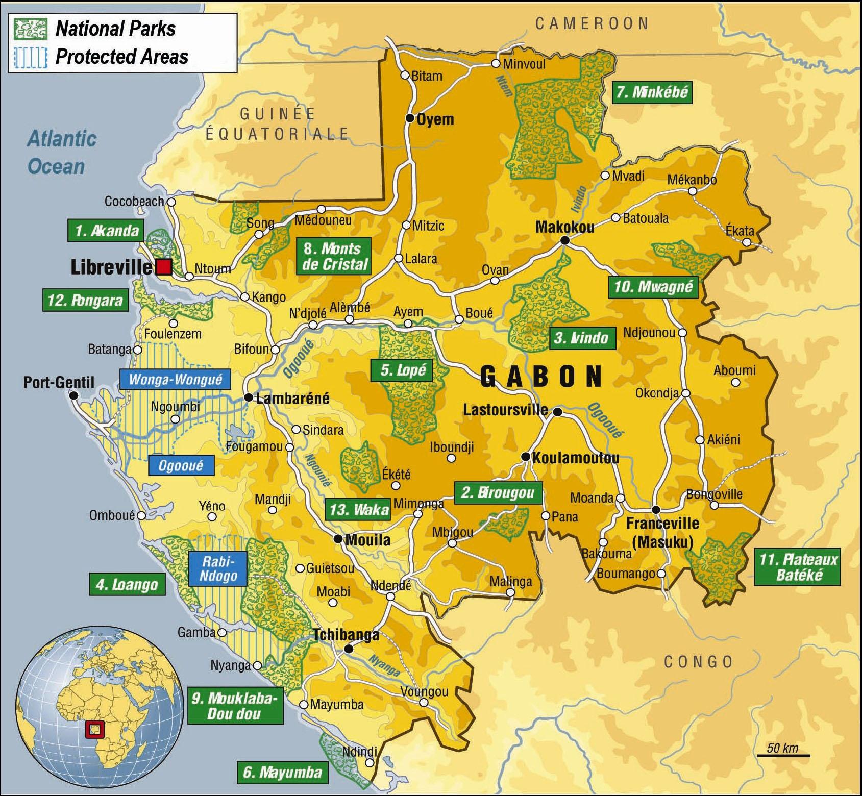 Detailed tourist map of Gabon Gabon detailed tourist map Vidiani