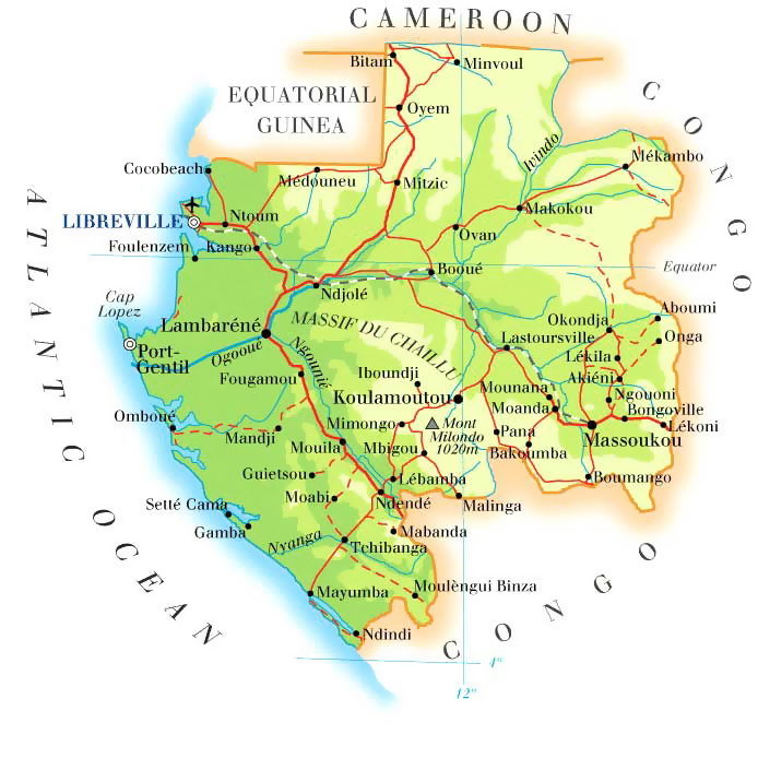 Gabon road and physical map. Road and physical map of Gabon.