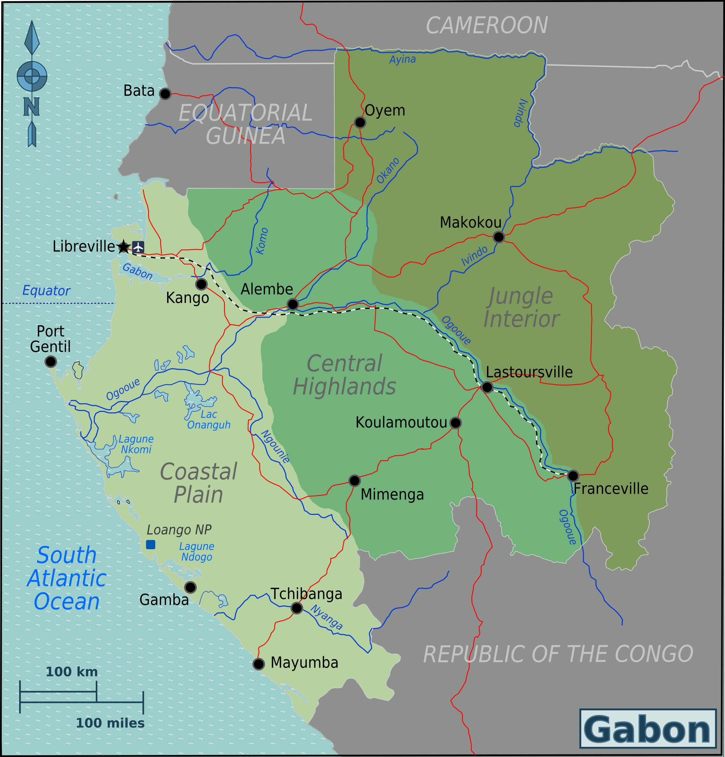 Large detailed Gabon regions map Gabon regions large detailed map