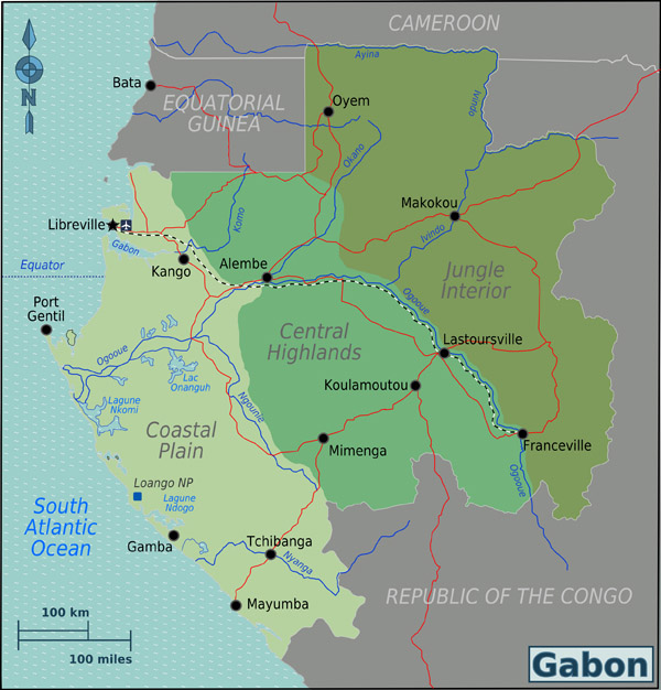 Large detailed Gabon regions map. Gabon regions large detailed map.