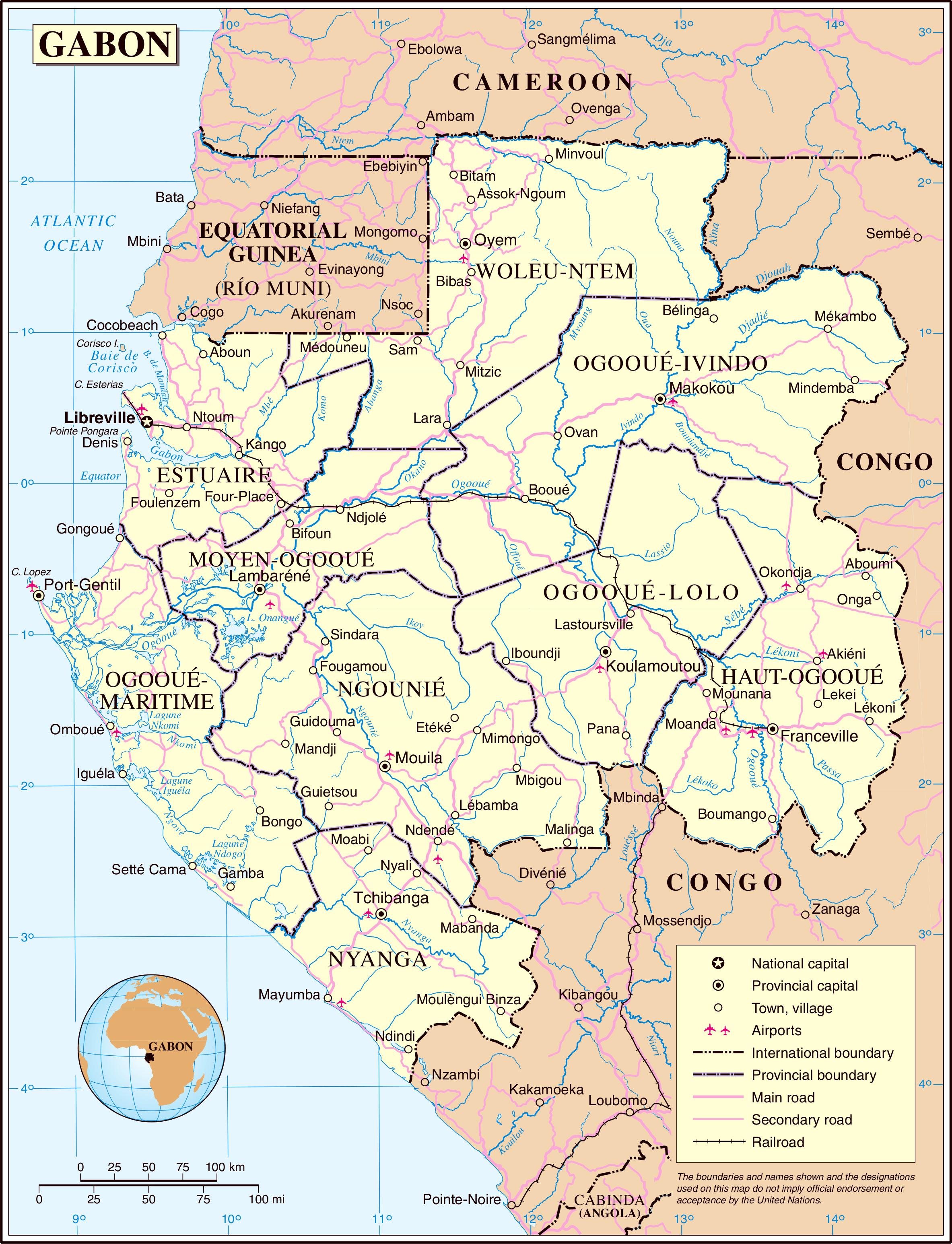Large detailed political and administrative map of Gabon with all