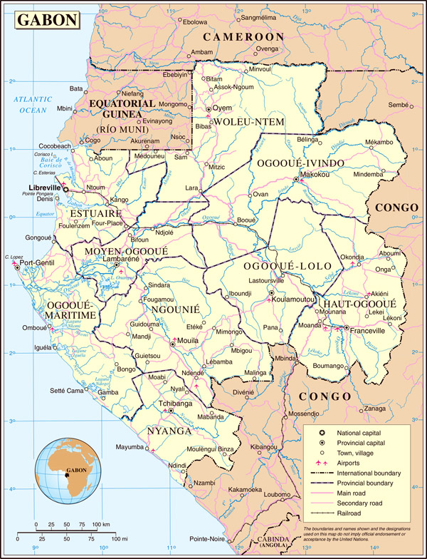 Large detailed political and administrative map of Gabon with all cities and roads.