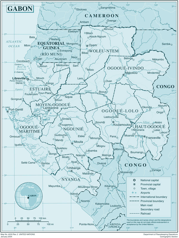 Large political and administrative map of Gabon with roads and cities.