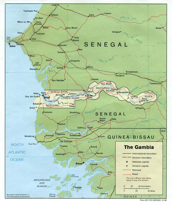 Detailed political map of Gambia. Gambia detailed political map.