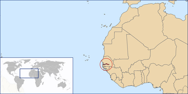 Gambia location map. Location map of Gambia.