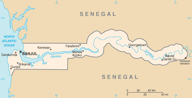 Gambia map with cities. Map of Gambia with cities.