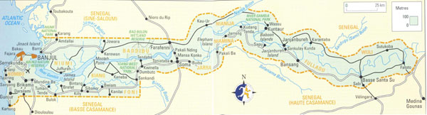 High resolution road map of Gambia. Gambia high resolution road map.