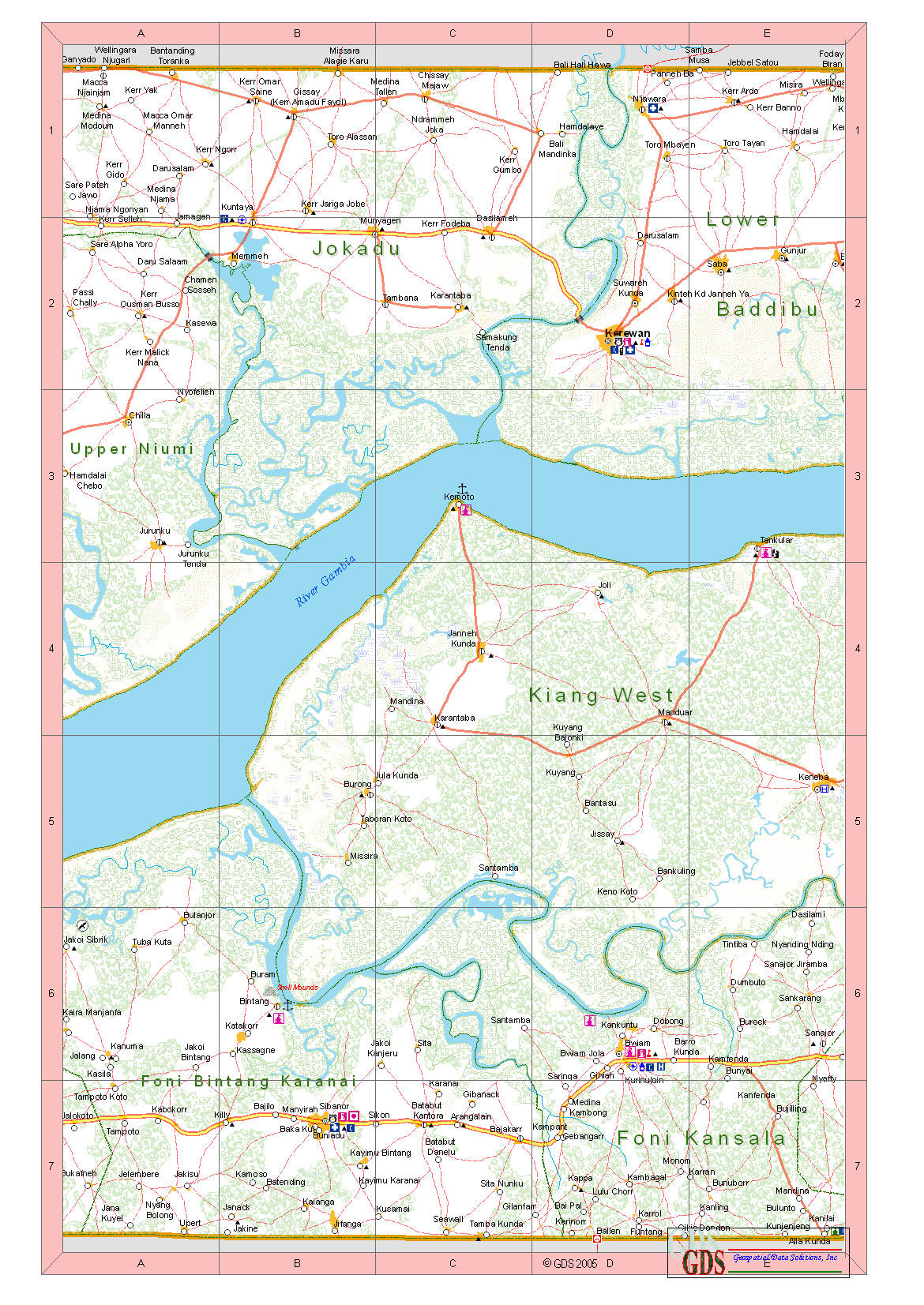 Large Detailed Road And Travel Map Of Gambia With All Cities