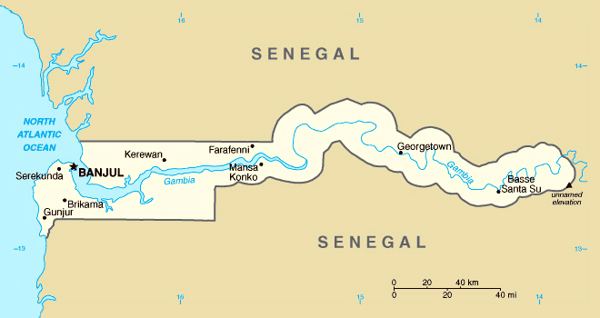 Map of Gambia. Gambia map.