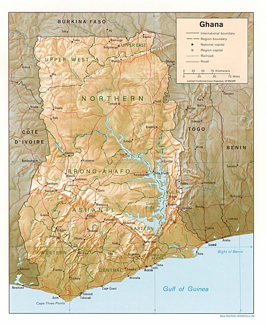 Detailed relief and political map of Ghana Ghana detailed relief