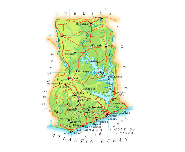 Detailed road and physical map of Ghana. Ghana detailed road and physical map.