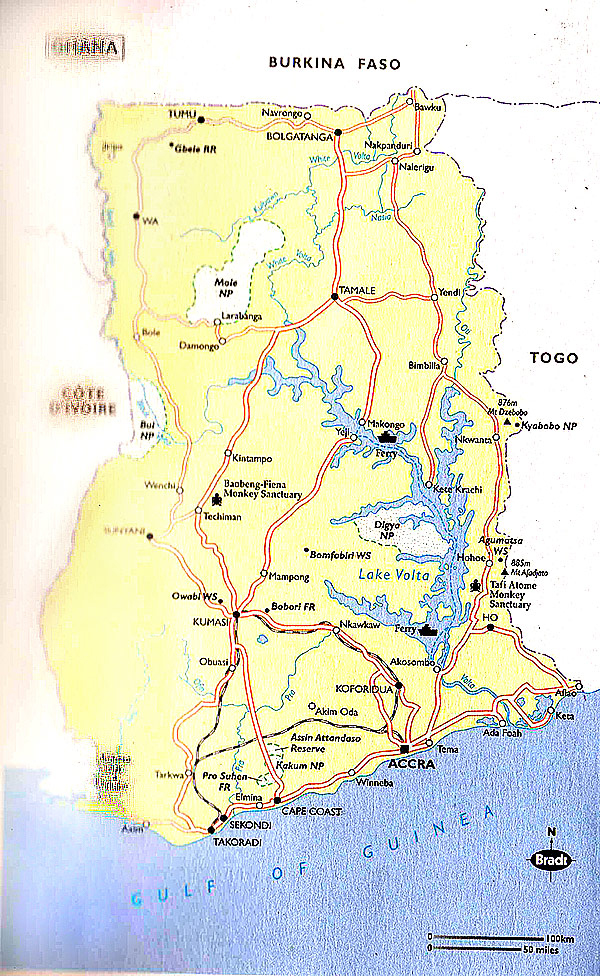 Detailed road map of Ghana. Ghana detailed road map | Vidiani.com ...