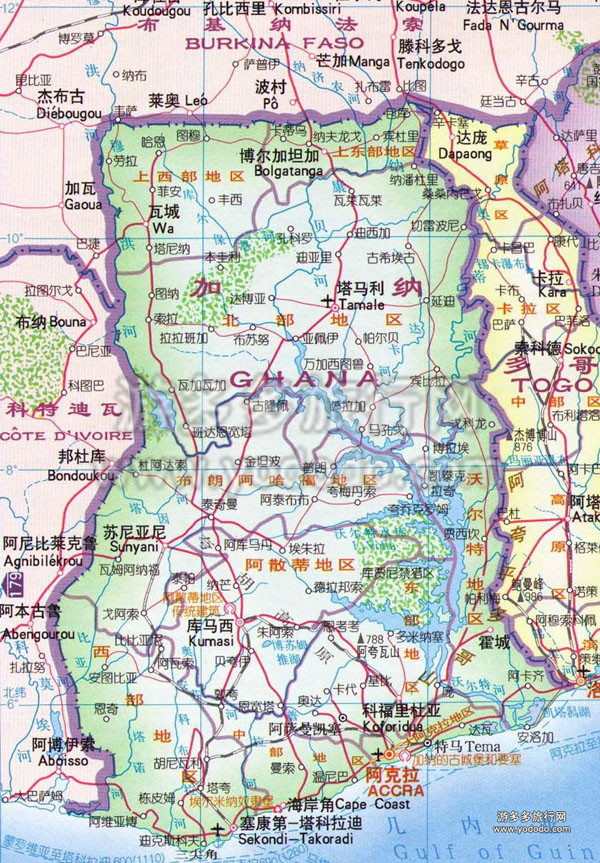 Detailed road map of Ghana in Chinese. Ghana detailed road map in chinese.