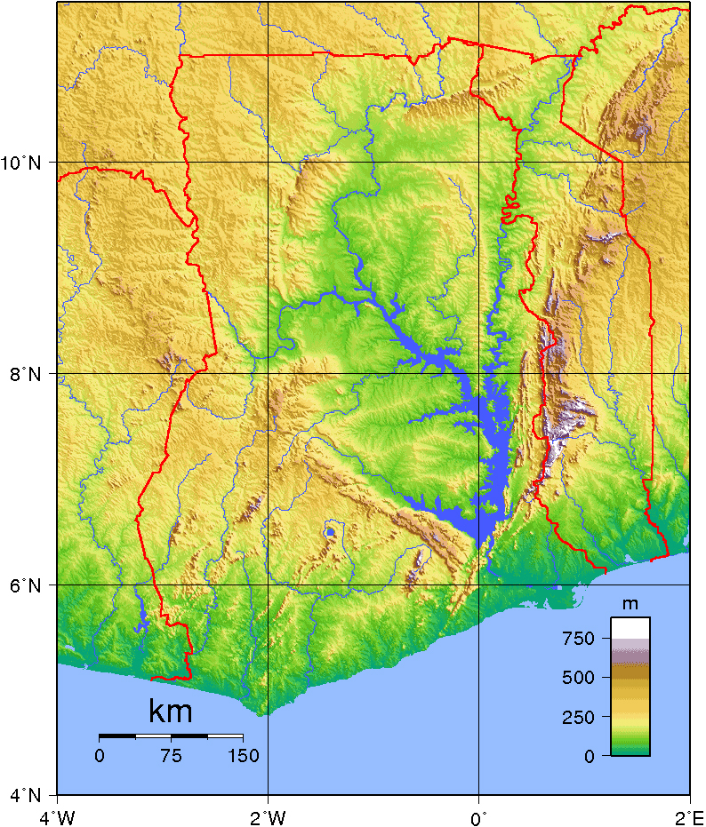 Detailed topographical map of Ghana Ghana detailed topographical