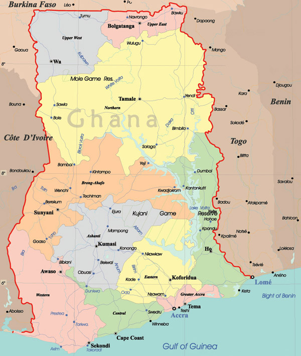 Large detailed administrative map of Ghana.