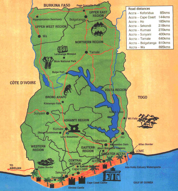 Large detailed tourist map of Ghana.
