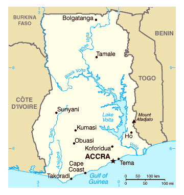 Map of Ghana. Ghana map.