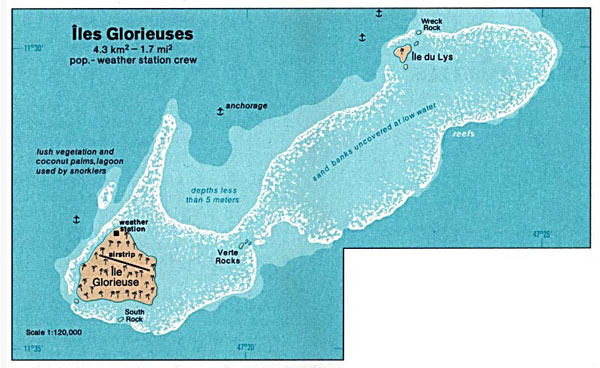 Detailed map of Glorioso Island. Glorioso Island detailed map.