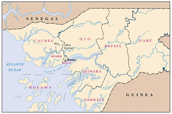 Detailed administrative map of Guinea-Bissau.