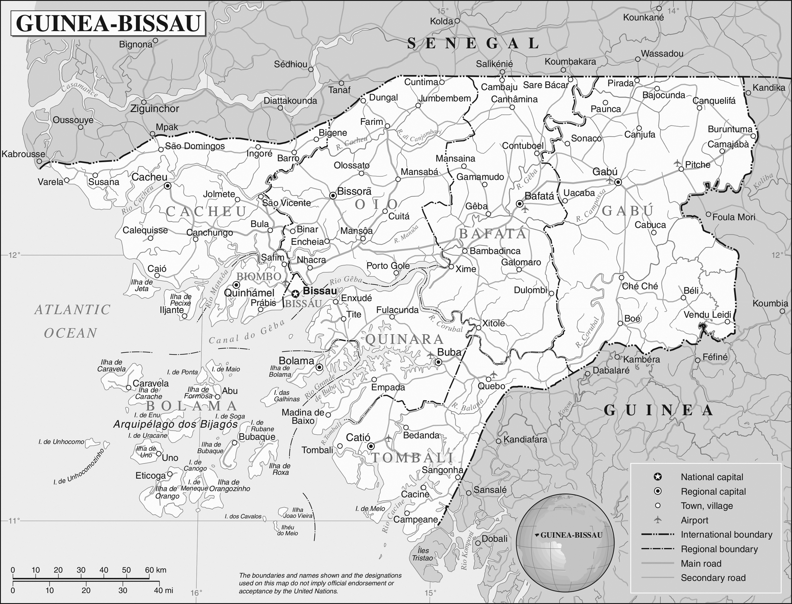 Detailed political map of GuineaBissau GuineaBissau detailed