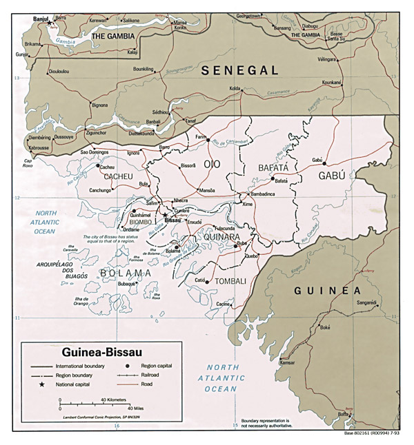Large detailed administrative and road map of Guinea-Bissau.