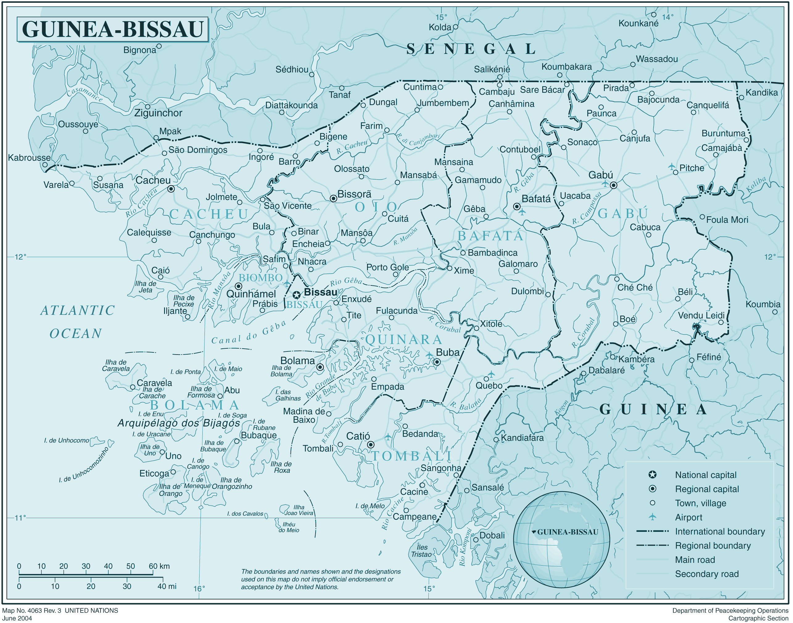 Large detailed political and administrative map of GuineaBissau