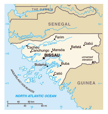 Map of Guinea-Bissau. Guinea-Bissau map.